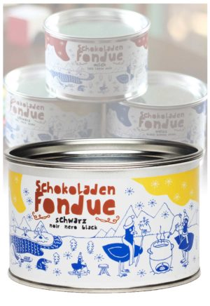 Taucherli Schoko-Fondue schwarz mit Pfefferminz